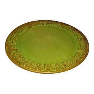 1970s Green Frankoma Pottery Dinner Plate For Sale