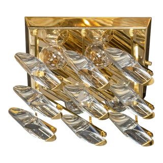 Sculptural Mid-Century Brass and Lucite Flush Mount Chandelier by Sciolari For Sale