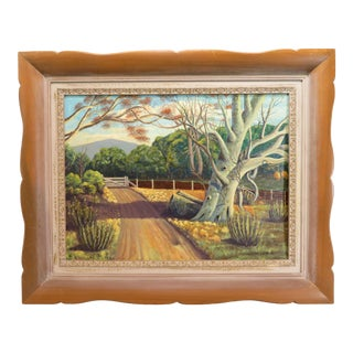 "1963 Signed Country Oil Art Painting, ""Summer Stroll"" For Sale"
