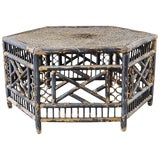Image of Hexagonal Bamboo Brighton Chinese Chippendale Cocktail Table For Sale