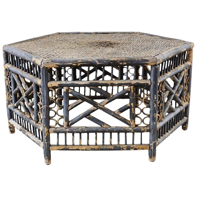 Hexagonal Bamboo Brighton Chinese Chippendale Cocktail Table For Sale