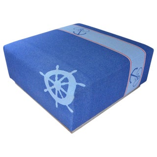 Ottoman Coffee Table Upholstered in Nautical Flannel Blanket on Barn Wood Base For Sale