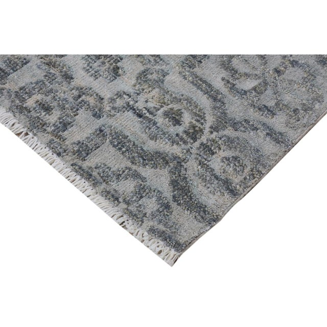 "Contemporary Kafkaz Peshawar Rosalia Gray/Gray Wool & Viscouse Rug - 3'11"" X 5'9"" For Sale - Image 3 of 8"