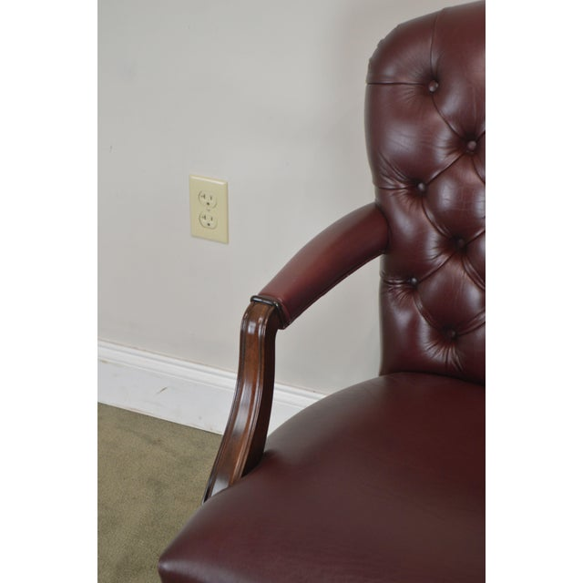 Oxblood Red Leather Tufted Chesterfield Style Executive Office Desk Chair (E) For Sale - Image 12 of 13