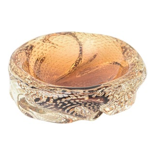 1960s Seguso Murano Bullecante Braided Amber Bowl For Sale