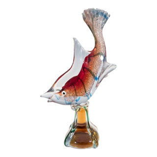 Murano Glass Sommerso Sculptural Fish with White Gold For Sale