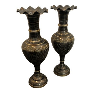 Vintage Afghan Etched Pewter and Brass Vases - a Pair For Sale