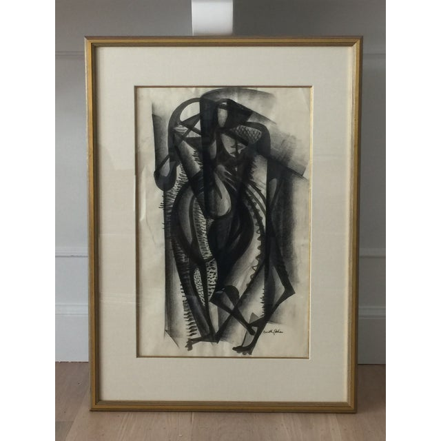 Framed Cubist Charcoal Painting - Image 6 of 8