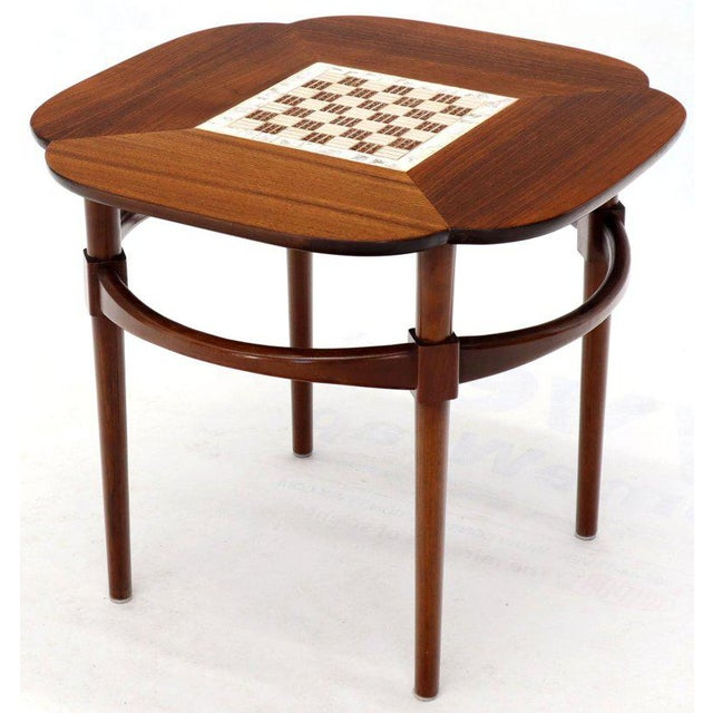 Pair of Clover Shape Tile and Walnut Top Round End Side Occasional Tables For Sale - Image 9 of 13