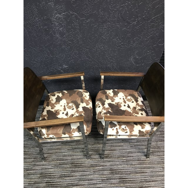 Mid-Century Faux Cowhide Chairs - A Pair - Image 4 of 8