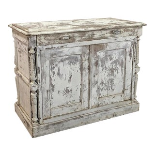 19th Century Rustic Neoclassical Painted Store Counter For Sale
