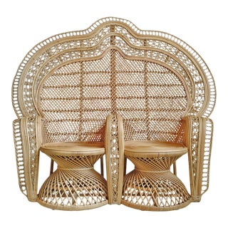 Raw Double Peacock Wicker Chair For Sale