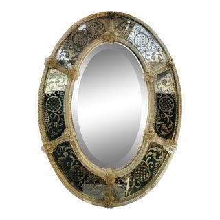 1950s Vintage Venetian Oval Mirror For Sale