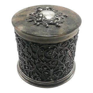 English Sterling Silver Faux Tortoise Lined Covered Dresser Jar For Sale
