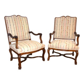 Late 19th Century French Oak Armchairs- A Pair For Sale