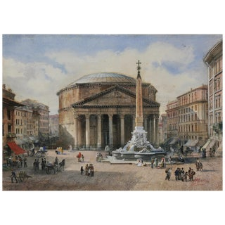 Three Italian Framed Watercolors of Scenes of Rome For Sale