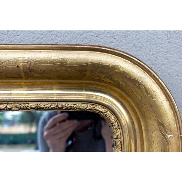 Gold Antique French Gilt Louis Philippe Mirror, Late 19th Century For Sale - Image 8 of 13