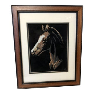 Framed Paint-By-Number Horse Painting