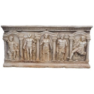 19th Century Antique Marble Sarcophagus Basin For Sale