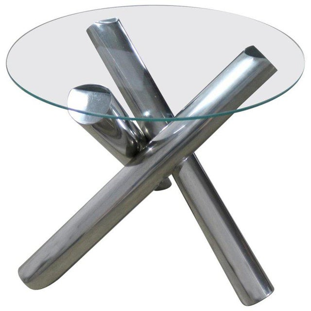 Tubular Stainless-Steel Jacks Tripod End Table Round Glass Top Style of Milo Baughman For Sale - Image 13 of 13