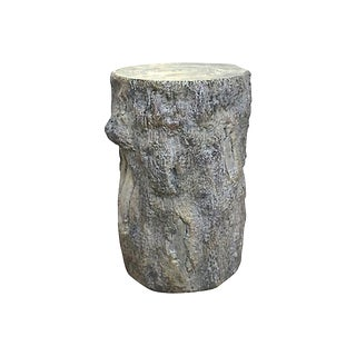 Late 20th Century Vintage Ceramic Faux Bois Stool For Sale