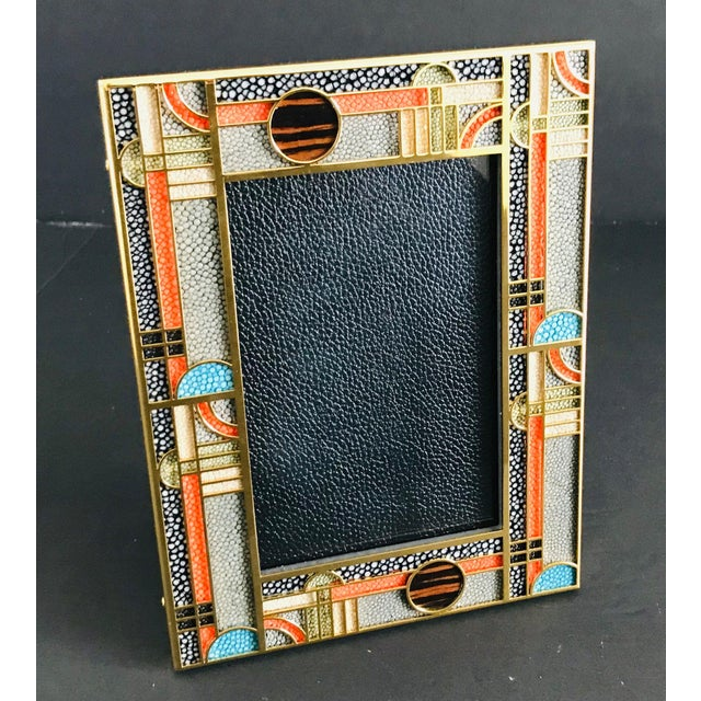 Asian Multi-Color Shagreen Gold-Plated Photo Frame by Fabio Ltd For Sale - Image 3 of 7
