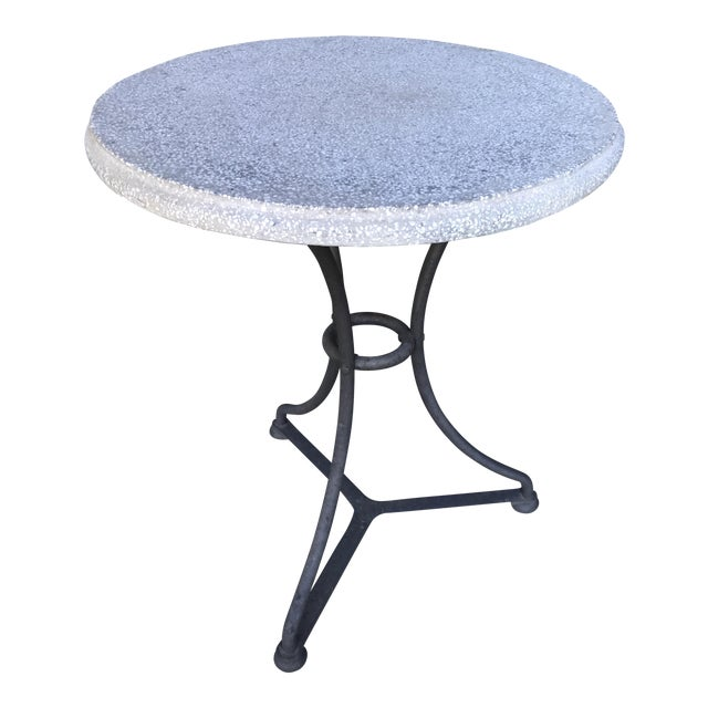 Pair Belgian Iron and Terrazzo Gueridon Bistro Tables, circa 1960 For Sale