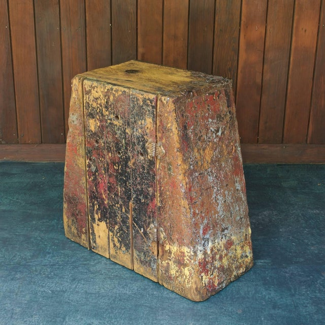 Heavily worn patina to old growth pinewood. Triangular shape, two interior shelves. Strong, sturdy, fully functional...