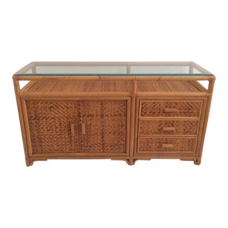 1990s Boho Chic Rattan Media Center With Glass Top For Sale