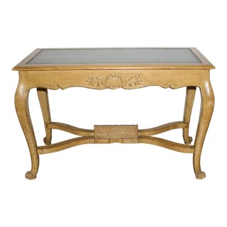 Vintage French Regency Medium Tone Wood Leather Topped Writing Table For Sale