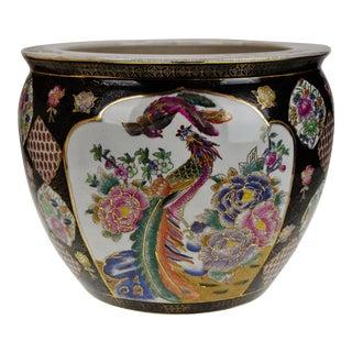 Vintage Asian Phoenix and Koi Fish Planter Jardiniere For Sale