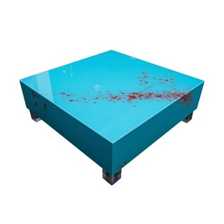 Reverse Painted Blue Lucite Coffee Table