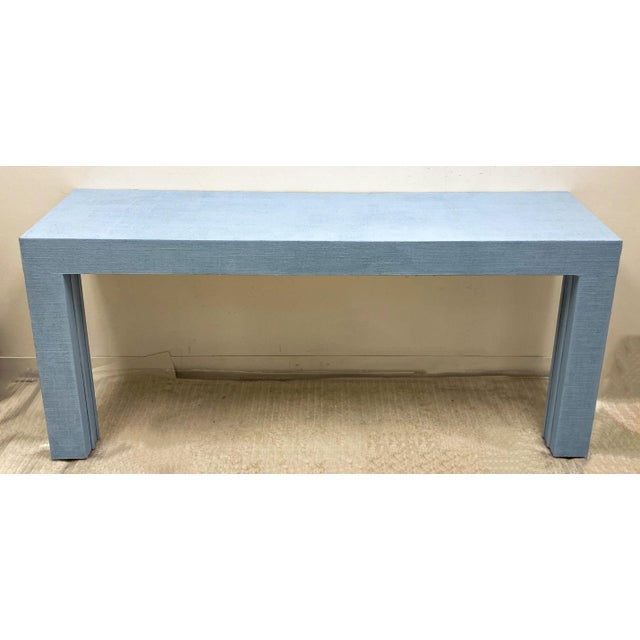 1970s Parsons Style Grasscloth Console Table-Pair Available For Sale - Image 5 of 5