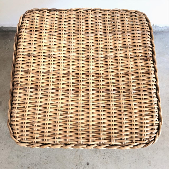 American 1960s Mid-Century Rattan Side Table For Sale - Image 3 of 5