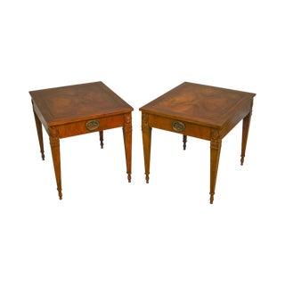 Baker Regency Style Vintage Walnut Pair of One Drawer Side Tables