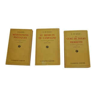 Vintage French Yellow Paperback Books - Set of 3 For Sale