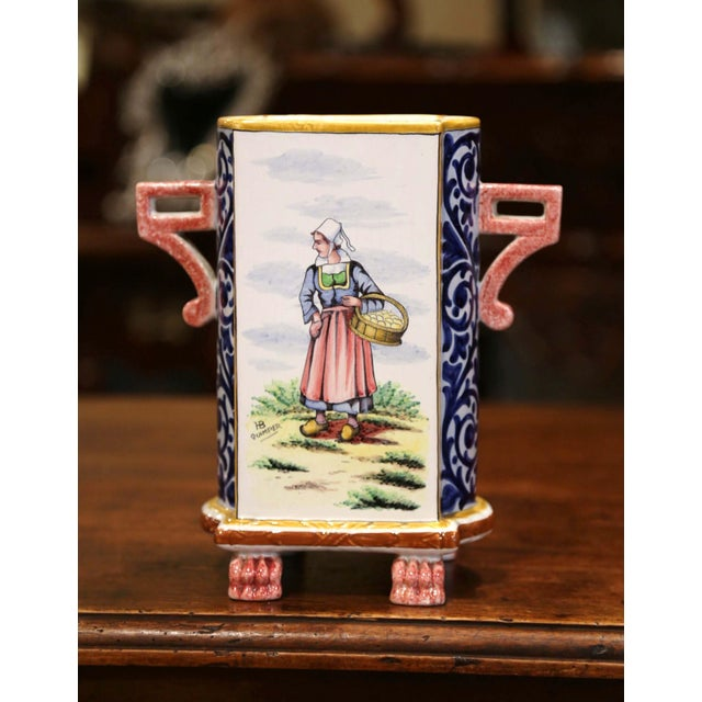 Early 20th Century French Hand-painted Faience Vase Signed Hb Quimper For Sale - Image 9 of 9