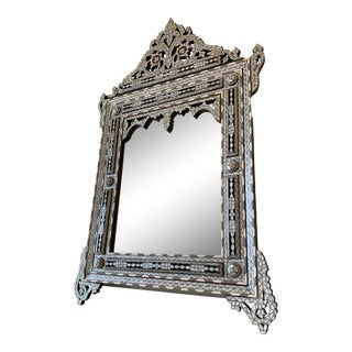 Moroccan Mother of Pearl and Camel Bone Mirror For Sale