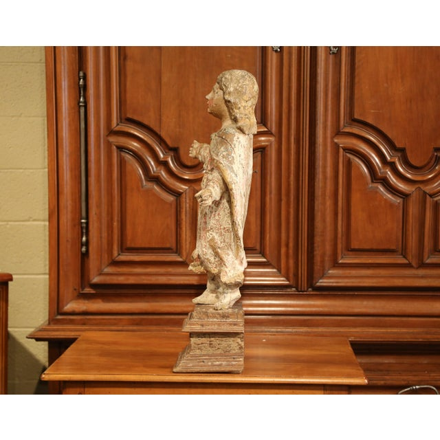 Pink 17th Century French Hand-Carved Polychromed Painted Statue of Saint on Stand For Sale - Image 8 of 11