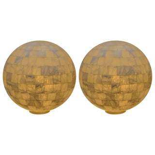Pair of White Onyx Globe Lights For Sale
