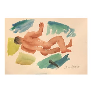 George Daniell Male Nude Watercolor Painting