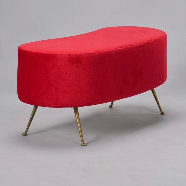 Italian Gio Ponti Style Kidney Shape Bench with Brass Feet - Image 2 of 9