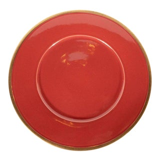 Set of Eight Porcelain Carnelian Charger Plates With 24-Karat Gold Rims For Sale
