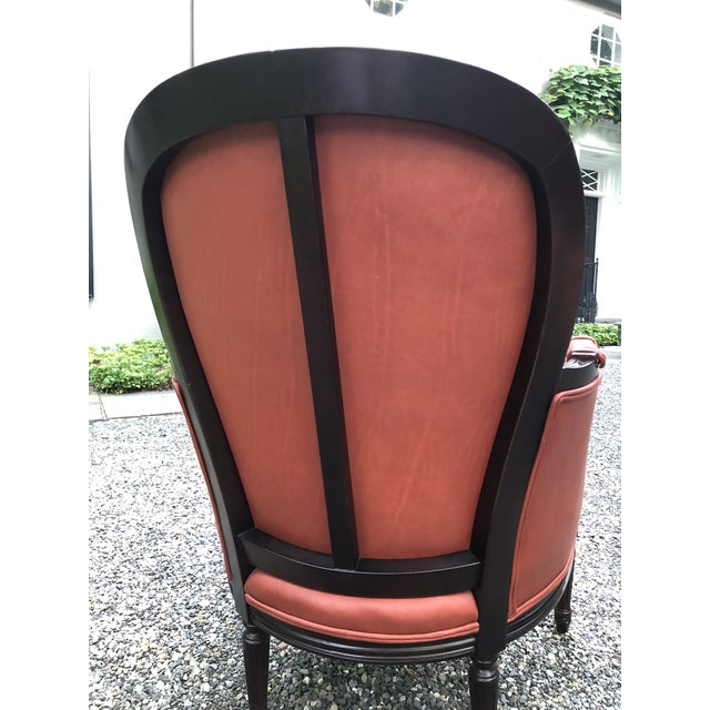 Traditional Persimmon Leather Armchair For Sale - Image 4 of 11