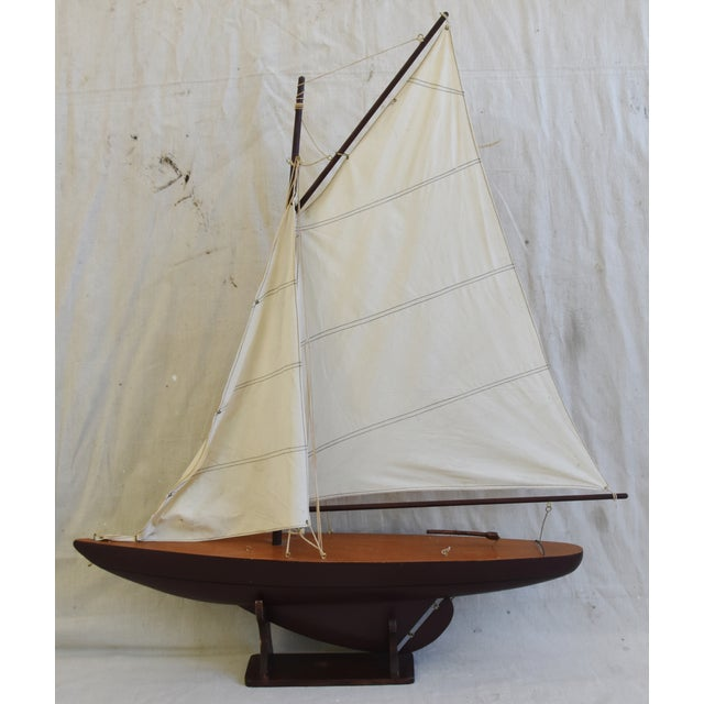 Vintage Nautical Sailing Ship/Boat Model W/Stand For Sale - Image 13 of 13