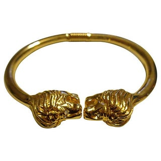 Kenneth Jay Lane Lion Head Bracelet For Sale