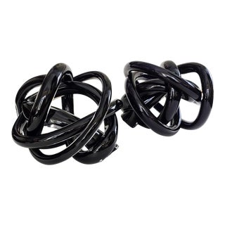Ebony Blown Glass Knots - A Pair For Sale