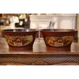 Pair of Midcentury French Hand Painted Tole Baskets With Fruit Decor Preview