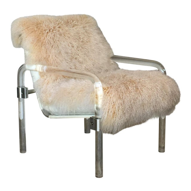 Welcoming Mongolian Lamb Lucite Armchair For Sale