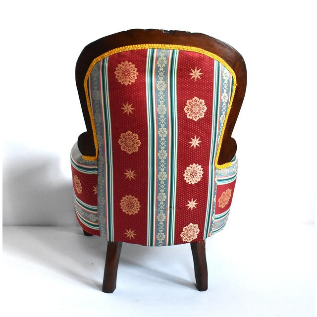 Mid 20th Century Antique Victorian-Style Upholstered Child's Chair For Sale - Image 5 of 11